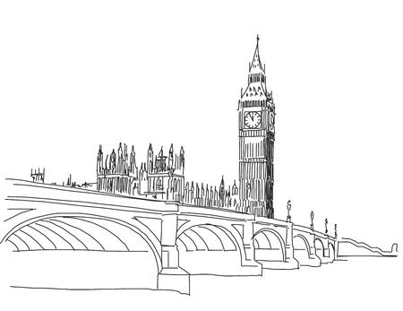 Hand getrokken Populaire bekijken Big Ben en Westminster Bridge Outline Vector Sketch Stock Illustratie