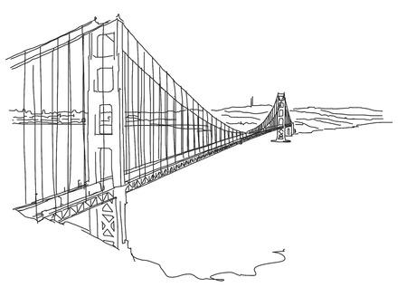 Hand drawn Golden Gate, San Francisco. Vector Outline Scribble Ilustracja