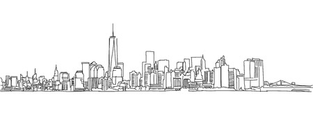 Free hand sketch of New York City skyline. Vector Outline Scribble Vettoriali