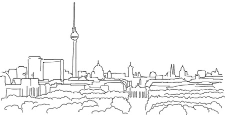 landscape architecture: On the roofs of berlin Vector outline scribble with Brandenburger Gate Illustration