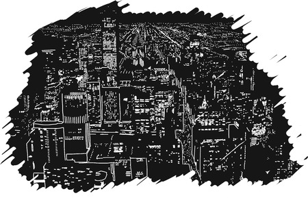 city lights: Big City Lights Handcrafted Illustration Vector Artwork with Two Layers White and Black Rubber Styled