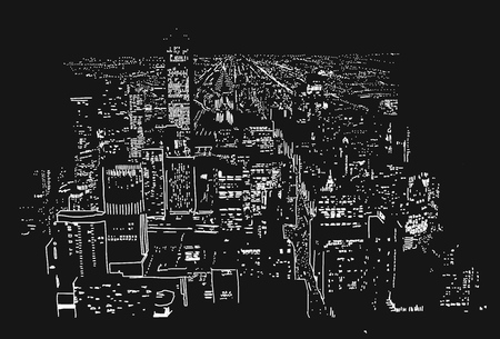 city lights: Big City Lights Handcrafted Illustration Vector Artwork with Two Layers White and Black