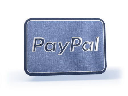Winkelen Icon in blauwachtig denim look, geïsoleerd op een witte achtergrond, 3D-rendering