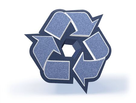 recycling campaign: Shopping Icon in blueish denim look, isolated on white background, 3D rendering Stock Photo