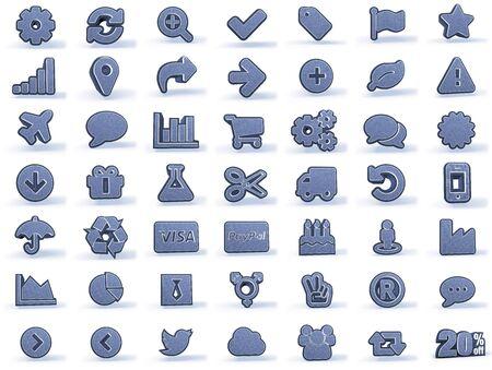 mezclilla: Iconos de compras en mirada del dril de algodón azulado, aisladas sobre fondo blanco, 3D Foto de archivo