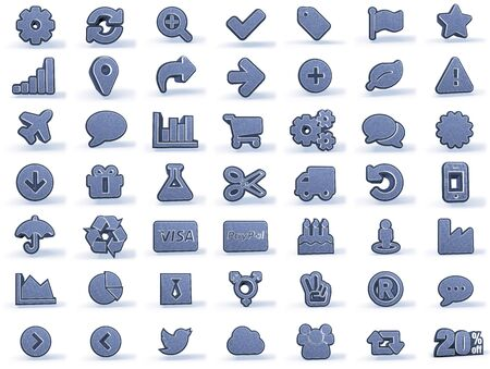 denim: Shopping Icons in blueish denim look, isolated on white background, 3D rendering