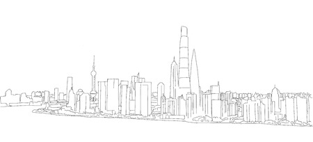 char: Shanghai Profile Panorama Outline Sketch with Skyscrapers and River Yangtze in Foreground
