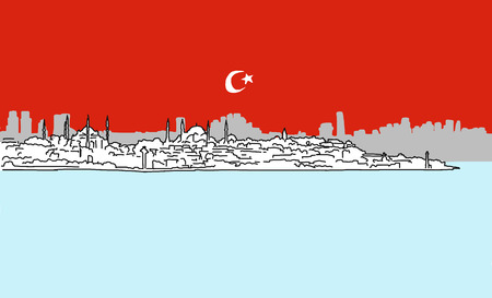 char: Istanbul Downtown Panorama Outline Sketch with Skyscrapers and Bosporus in Background