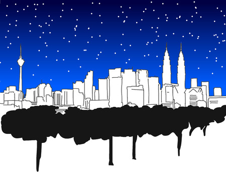 sin: Las Vegas Downtown Panorama Outline Sketch with Skyscrapers and Sky with Stars in Background Illustration