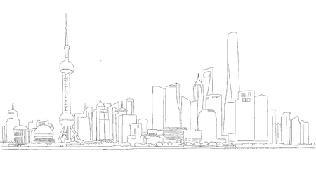 shanghai skyline: Shanghai Downtown Panorama Outline Sketch with Skyscrapers and River Yangtze in Foreground
