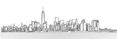 New York City Panorama Skyline, Free Hand Sketch, Vector Drawing Vectores