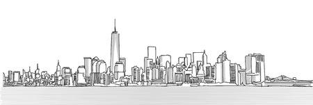 New York City Panorama Skyline, Free Hand Sketch, Vector Drawing Vettoriali