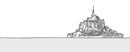 michel: Mount St Michel Hand drawn sketch. Vector Outline and Shading