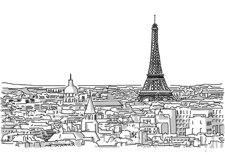 urbane: About the Roofs of Paris Handmade Drawing with the Eiffel Tower in background