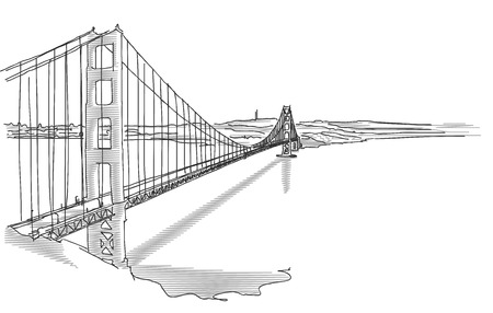 Hand Drawn Golden Gate Bridge in Two Tone Gray, Vector Sketch Çizim