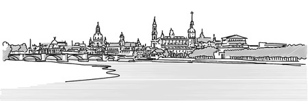 Dresden Panorama Sketch with Augustus Bridge and Elbe in Foreground, Vector greytoned Version