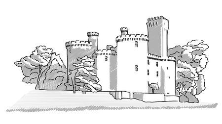 historic: Historic english castle hand drawn sketch. Vector illustration