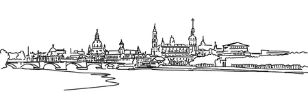 Dresden Panorama Sketch with Augustus Bridge and Elbe in Foreground, Vector Outline Version