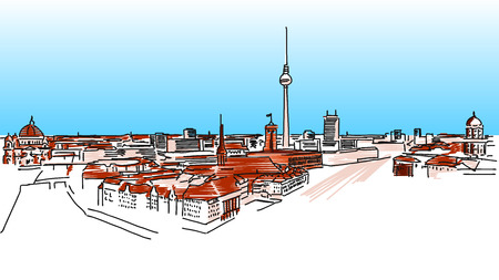 urbane: Old and New Berlin, Nikolaiviertel in Foreground and Fernsehturm in Background, colored Vector Version