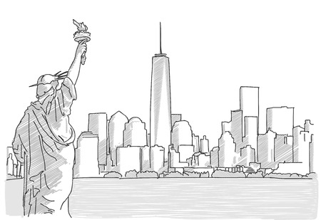 Free hand sketch of New York City Skyline with Statue of Liberty. Vector Drawing
