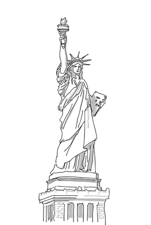 Statue of Liberty Hand Drawn Sketch, Vector Illustration