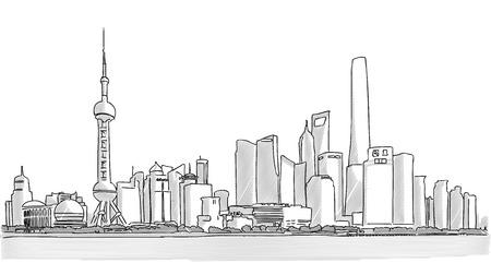 Shanghai Downtown Panorama Freehand Tekenen met Wolkenkrabbers en de Yangtze-rivier in de voorgrond