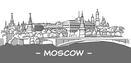 Moscow Hand Drawn Sketch with Dark Footer, Tone Grey Version, Vector Outline