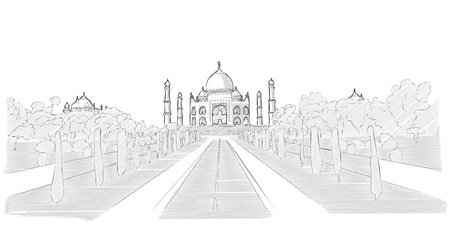 tourist attraction: Taj Mahal hand drawn sketch of famous indian tourist attraction. Vector drawing