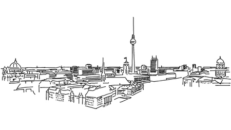 foreground: Old and New Berlin, Nikolaiviertel in Foreground and Fernsehturm in Background, black and white Vector Version