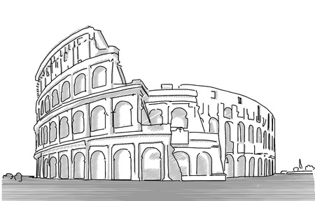 Rome Colosseum Clean Hand Dranw Sketch, Vector Outline Version with various Tones of Grey