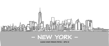 greys: New York City Clean Hand Drawn Vector Illustration with Two Tone Greys