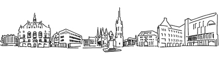 urbane: Halle Saale Market Place with Händel Statue and church towers, Vector outline version