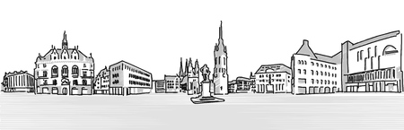 urbane: Halle Saale Market Place with Händel Statue and church towers, Greytone Vector outline version Illustration