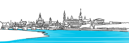 urbane: Dresden Panaroma Sketch, colored river Elbe with Augustus Bridge in Foreground, Vector colored Version Illustration