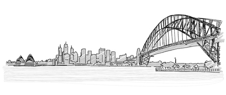 on the lookout: On the roofs of Sydney handdrawn sketch. Vector drawing