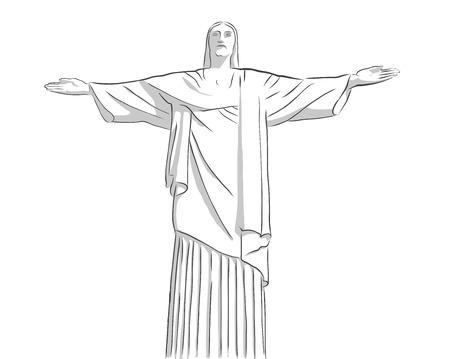 redeemer: christ the Redeemer statue Outline Sketch, Art Deco statue of Jesus Christ in Rio de Janeiro, Brazil Illustration