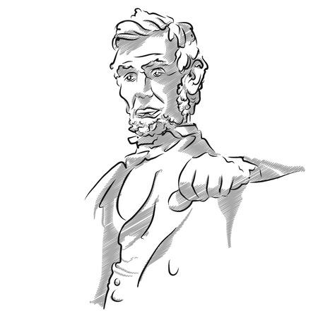 char: Abraham Lincoln Memorial Sketch, Vector Outline Version
