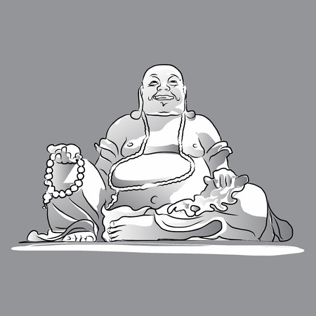 char: Maitreya Buddha Grey Shaded Vector Drawing, Sitting On Top of Cam Mountain, Asias largest Maitreya Bhudda