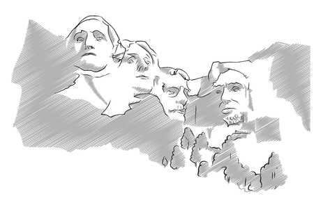 sculpture: Mount Rushmore Sculpture Sketched Vector Illustration, Grey Shaded Version Illustration