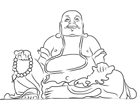 Maitreya Buddha Umriss Vektor-Zeichenprogramm, sitzt oben auf Cam Berg, Asias größte Maitreya Bhudda