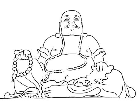 Maitreya Buddha Outline Vector Drawing, Sitting On Top of Cam Mountain, Asias largest Maitreya Bhudda 向量圖像