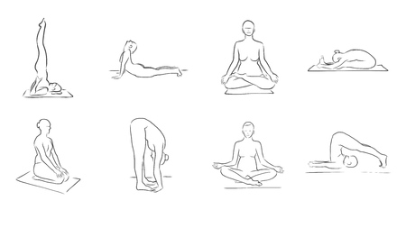 physically: Set of Eight Yoga Figures, Clean Outline Handdrawn Vector Sketch