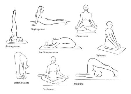 Conjunto de Ocho Figuras de la yoga, etiquetado, Contorno Limpio Handdrawn del bosquejo del vector