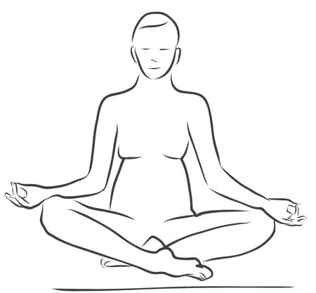 sukhasana: Sukhasana Easy Pose, Yoga Figure, Clean Outline Handdrawn Vector Sketch Illustration