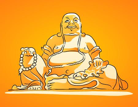 Maitreya Buddha Orange Shaded Vector Drawing, Sitting On Top of Cam Mountain, Asias largest Maitreya Bhudda