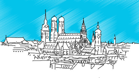 On the roofs of Munich, Vector Outline Sketch with bblue background