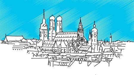 Op de daken van München, Vector Outline Schets met Bblue achtergrond