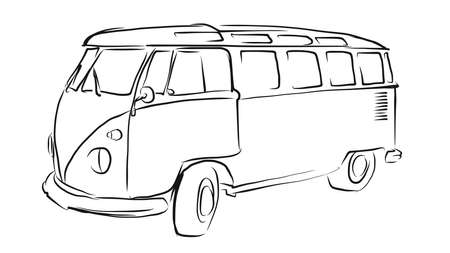transporter: Old Transporter Sketch, Vector Drawing, separated on white