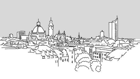 Leipzig Skyline Vector Outline Sketch with grey Background Zdjęcie Seryjne - 55081063
