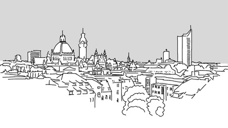 Leipzig Skyline Vector Outline Sketch with grey Background
